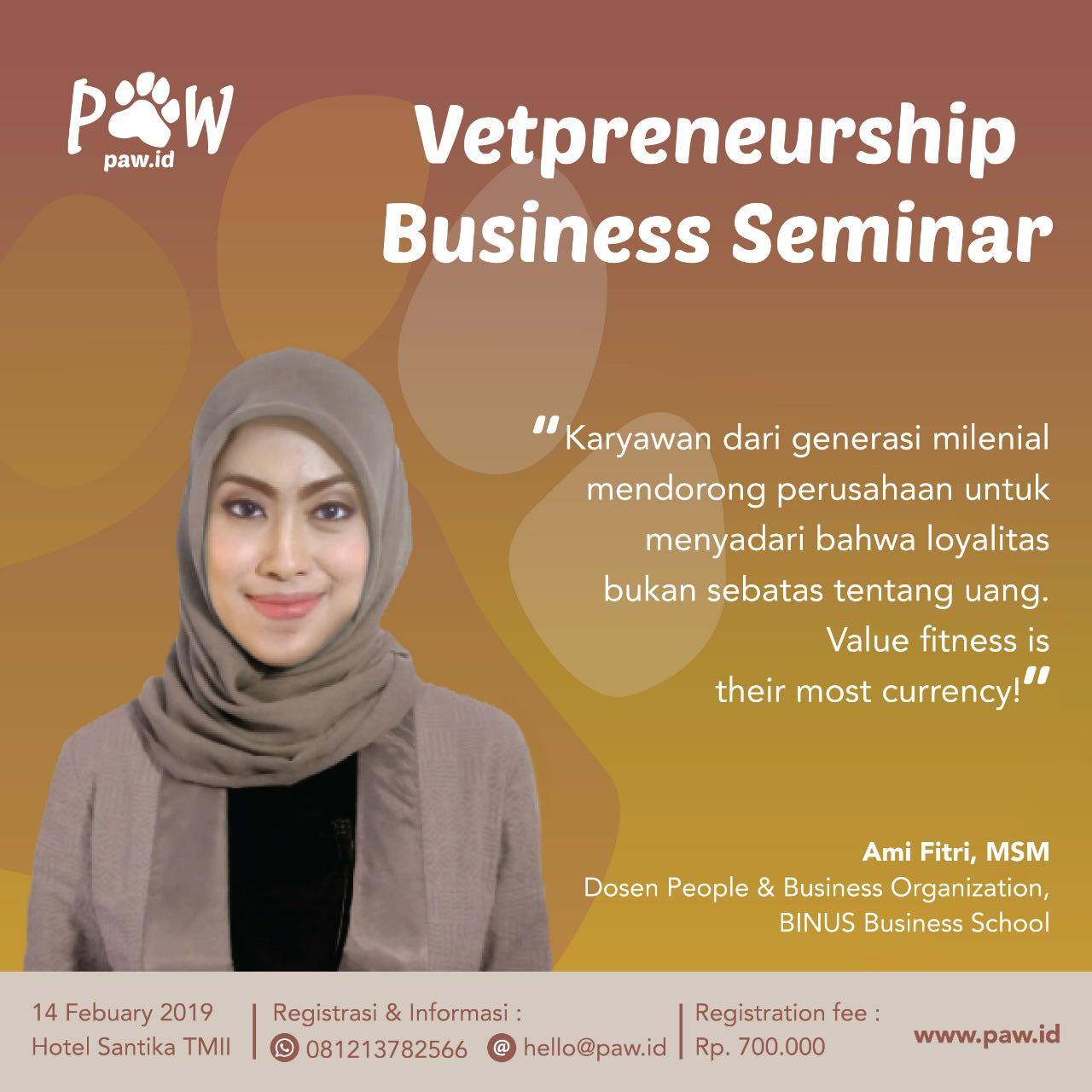 Ami Fitri sebagai speaker di Vetpreneurship Business Seminar 2019 paw Indonesia