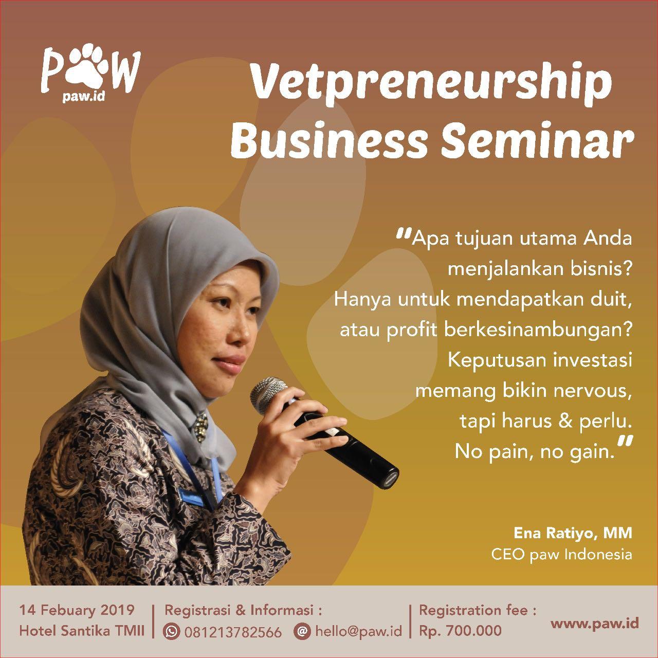 Ena Ratiyo sebagai speaker di Vetpreneurship Business Seminar 2019 paw Indonesia