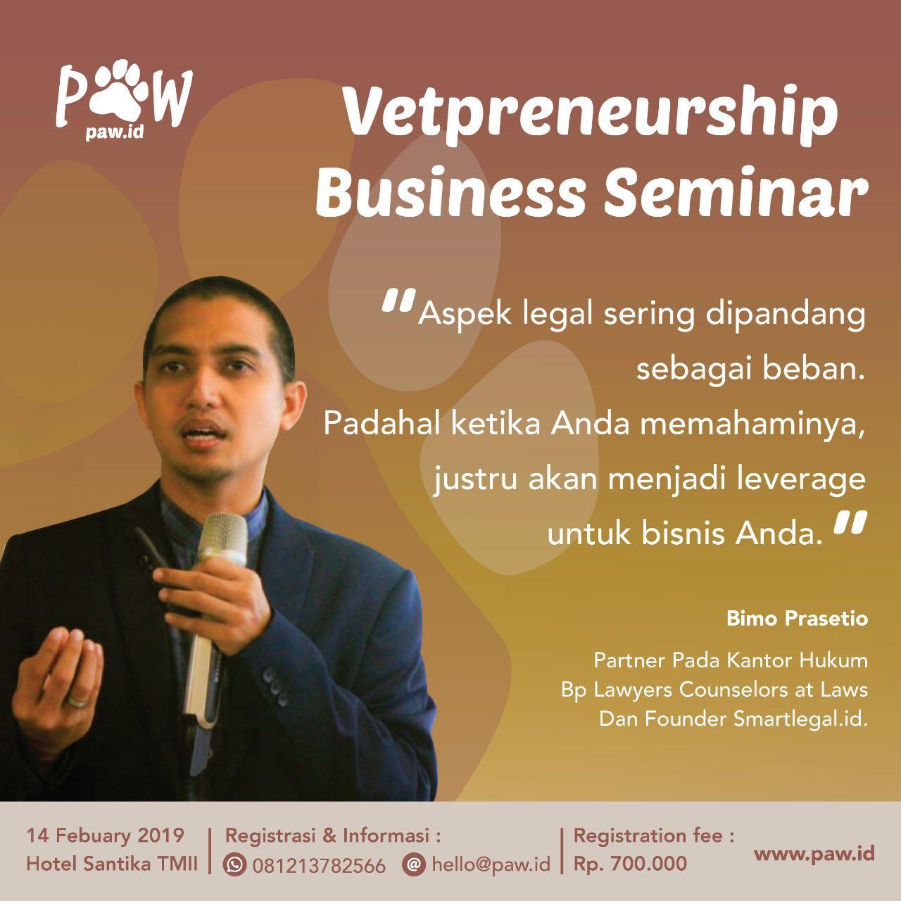 Bimo Prasetio sebagai speaker di Vetpreneurship Business Seminar 2019 paw Indonesia
